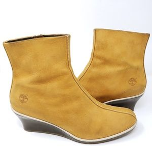 Timberland Wedge Heel Boots Wheat Suede Zip Ankle